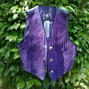 NEW Rock Creek star leather fringe vest purple